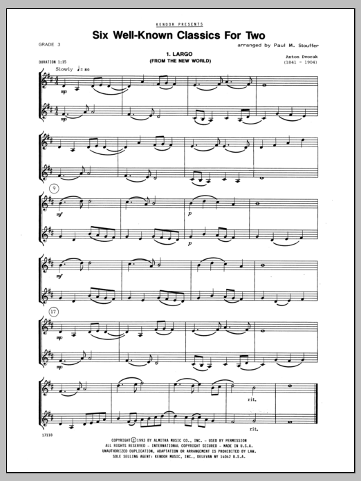 Stouffer Six Well-Known Classics For Two sheet music notes and chords. Download Printable PDF.