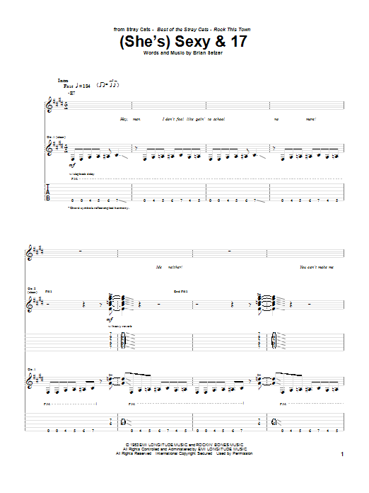 Stray Cats (She's) Sexy And 17 sheet music notes and chords. Download Printable PDF.