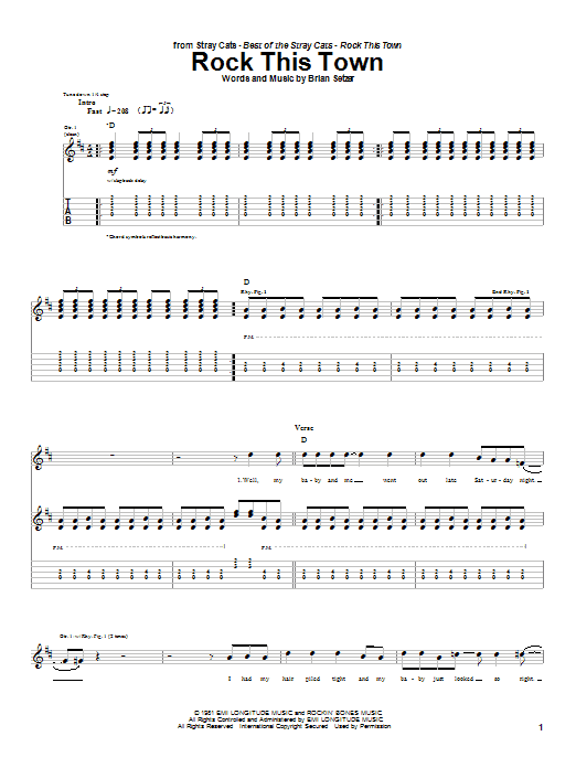 Stray Cats Rock This Town sheet music notes and chords. Download Printable PDF.