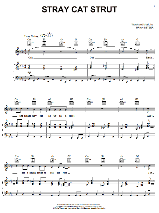 Stray Cats Stray Cat Strut Sheet Music Pdf Notes Chords Rock Score Guitar Chords Lyrics Download Printable Sku 83905