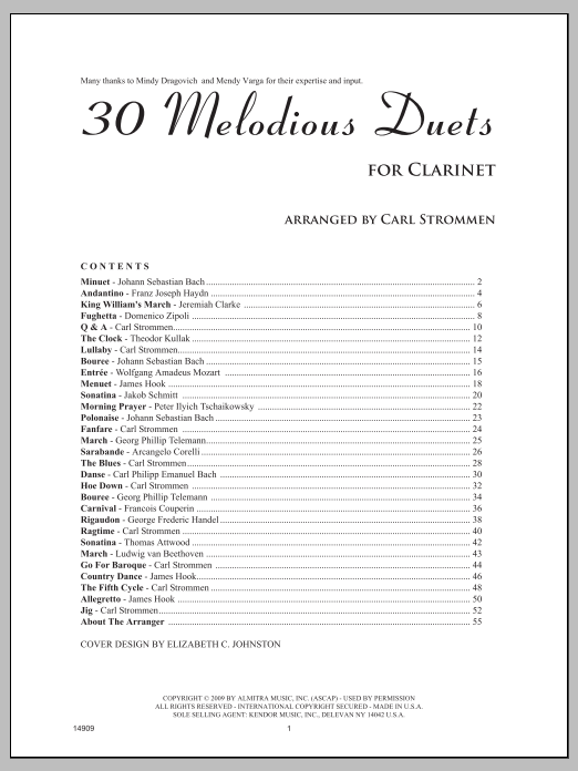 Strommen 30 Melodious Duets sheet music notes and chords