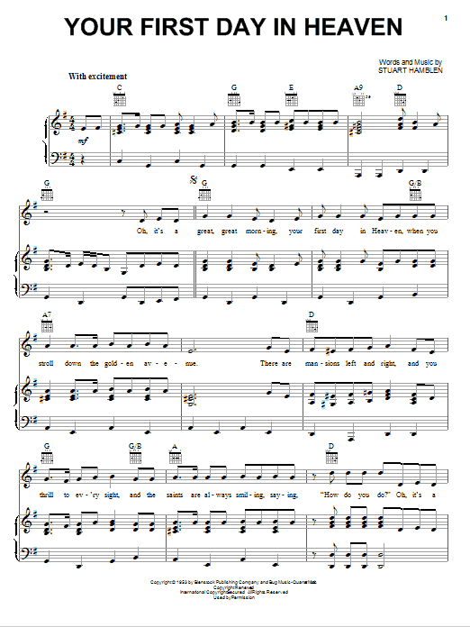 Stuart Hamblen Your First Day In Heaven sheet music notes and chords. Download Printable PDF.