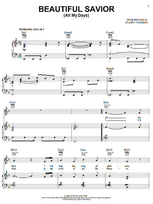 Stuart Townend Beautiful Savior (All My Days) sheet music notes and chords. Download Printable PDF.