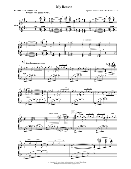 Stylianos Vlavianos My Reason sheet music notes and chords. Download Printable PDF.
