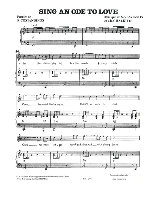 Stylianos Vlavianos Sing An Ode To Love sheet music notes and chords. Download Printable PDF.