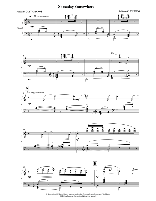 Stylianos Vlavianos Someday Somewhere sheet music notes and chords