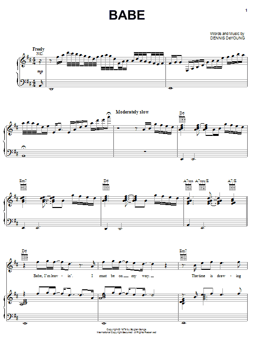 Styx Babe sheet music notes and chords