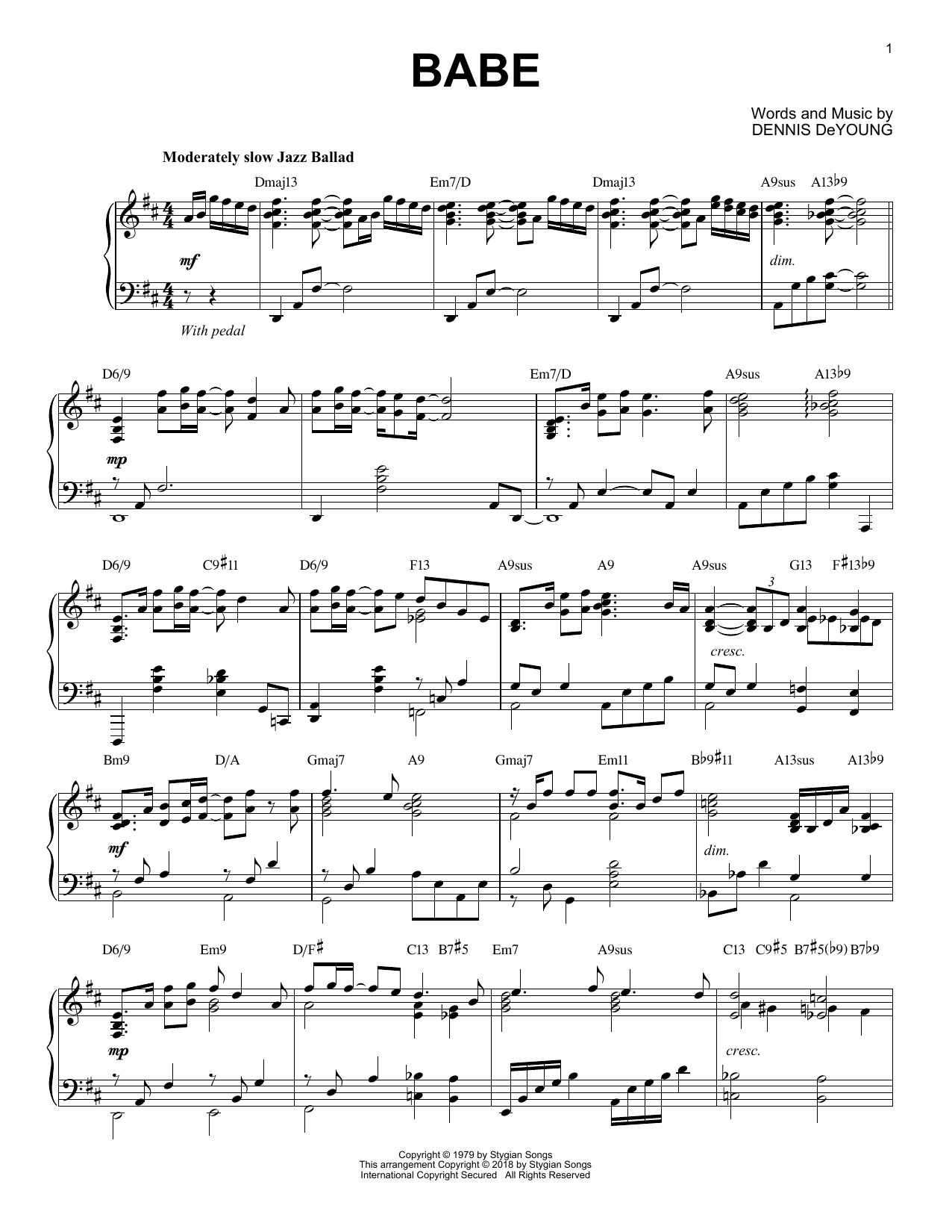 Styx Babe [Jazz version] sheet music notes and chords. Download Printable PDF.