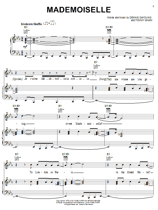 Styx Mademoiselle sheet music notes and chords