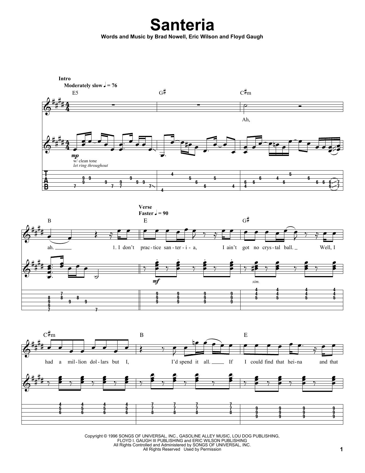 Sublime Santeria sheet music notes and chords. Download Printable PDF.