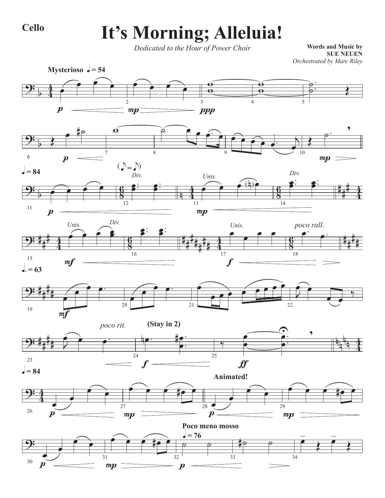 Sue Neuen It's Morning; Alleluia! - Cello sheet music notes and chords. Download Printable PDF.