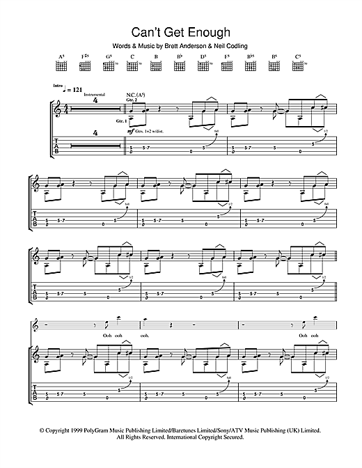 Suede Can't Get Enough sheet music notes and chords. Download Printable PDF.