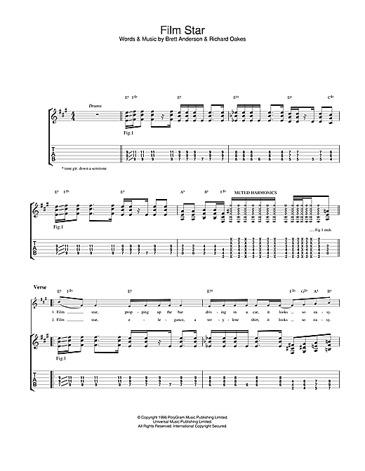 Suede Film Star sheet music notes and chords. Download Printable PDF.