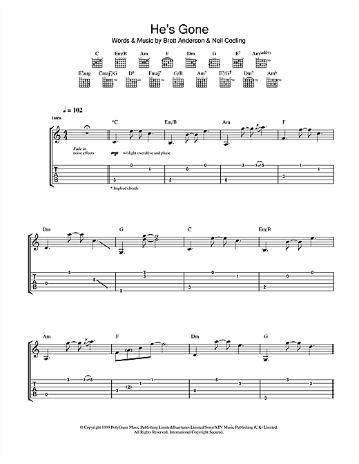 Suede He's Gone sheet music notes and chords. Download Printable PDF.