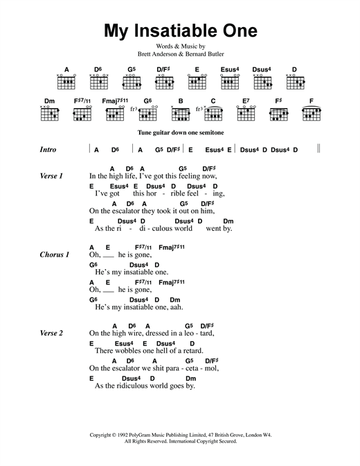 Suede My Insatiable One sheet music notes and chords. Download Printable PDF.