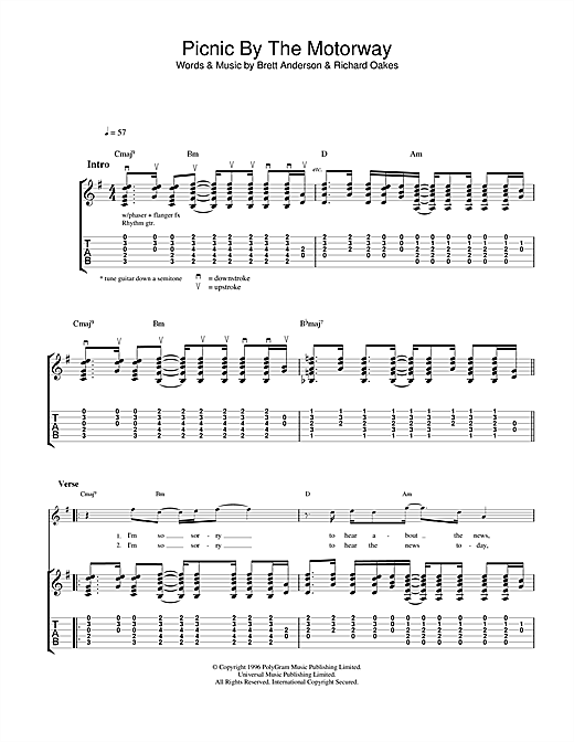 Suede Picnic By The Motorway sheet music notes and chords. Download Printable PDF.