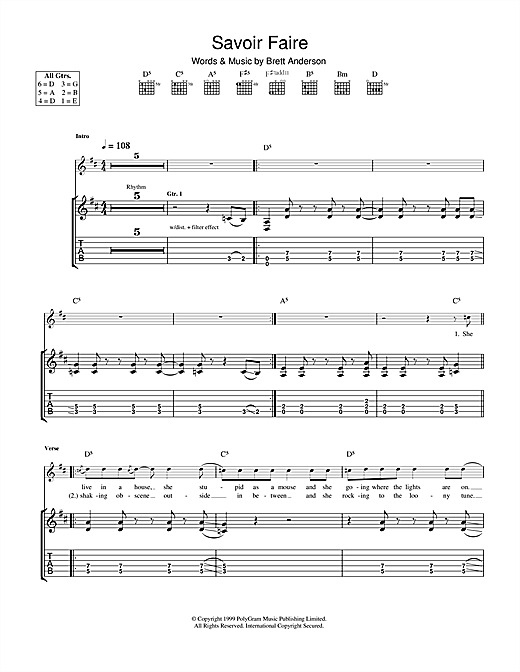 Suede Savoir Faire sheet music notes and chords. Download Printable PDF.