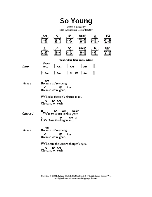 Suede So Young sheet music notes and chords. Download Printable PDF.