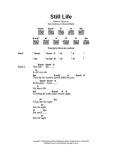 Suede Still Life sheet music notes and chords. Download Printable PDF.