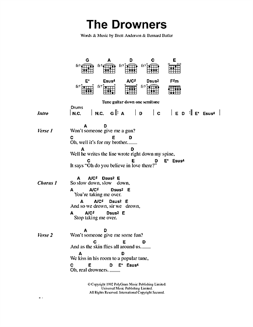 Suede The Drowners sheet music notes and chords
