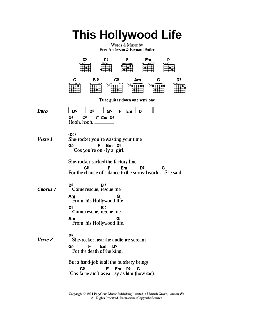 Suede This Hollywood Life sheet music notes and chords. Download Printable PDF.