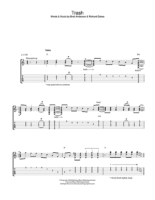 Suede Trash sheet music notes and chords. Download Printable PDF.
