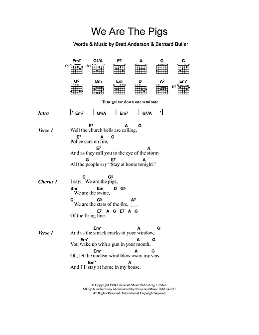 Suede We Are The Pigs sheet music notes and chords. Download Printable PDF.