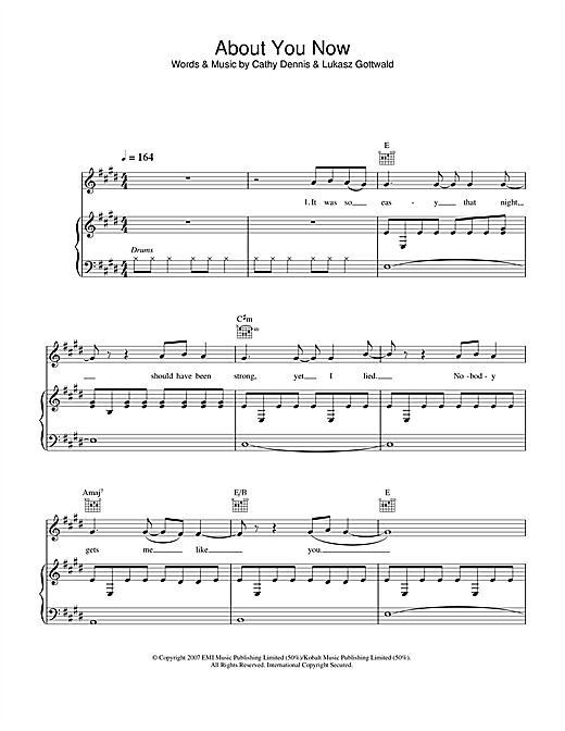 Sugababes About You Now sheet music notes and chords
