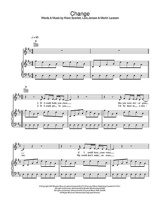 Sugababes Change sheet music notes and chords