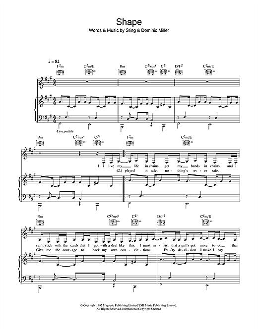 Sugababes Shape sheet music notes and chords. Download Printable PDF.