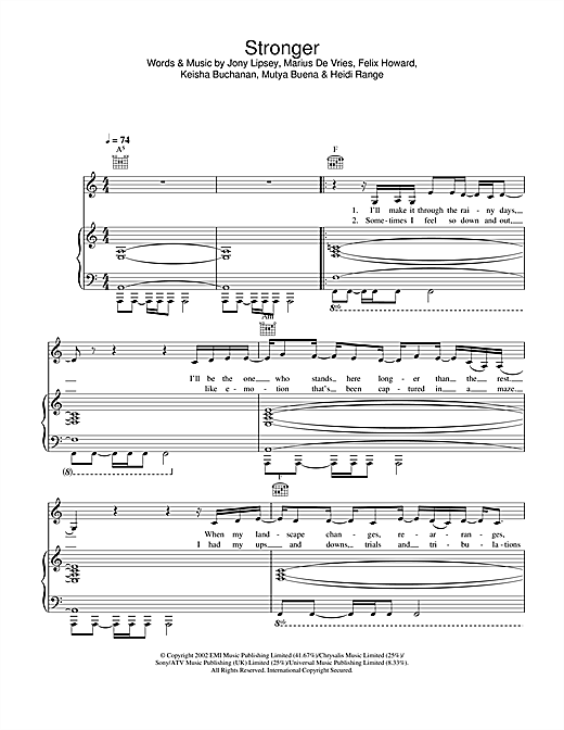 Sugababes Stronger sheet music notes and chords. Download Printable PDF.