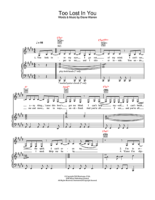 Sugababes Too Lost In You sheet music notes and chords. Download Printable PDF.