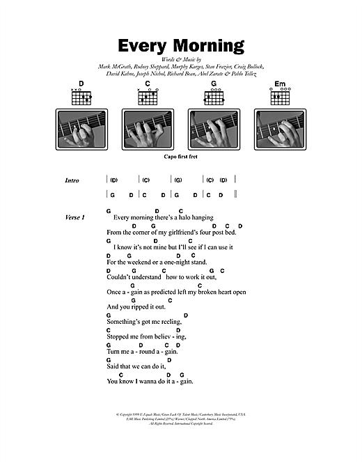 Sugar Ray Every Morning sheet music notes and chords. Download Printable PDF.