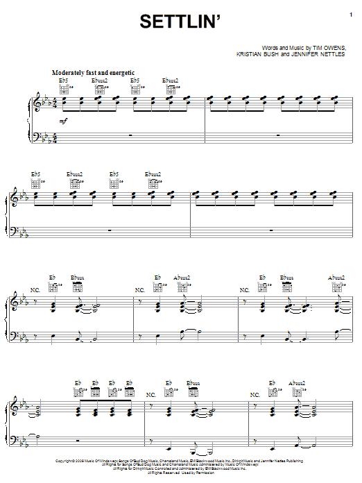 Sugarland Settlin' sheet music notes and chords. Download Printable PDF.