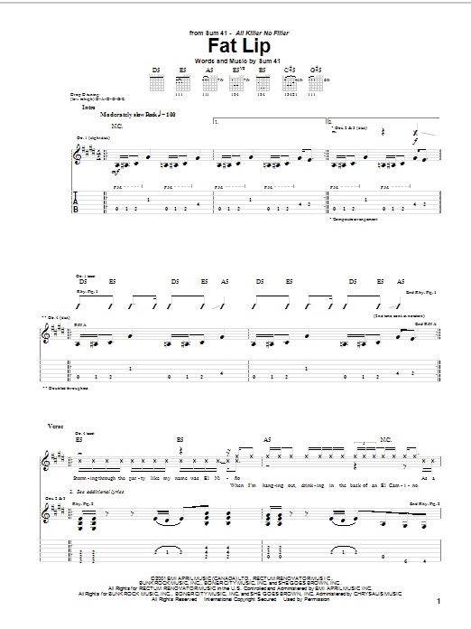 Sum 41 Fat Lip sheet music notes and chords
