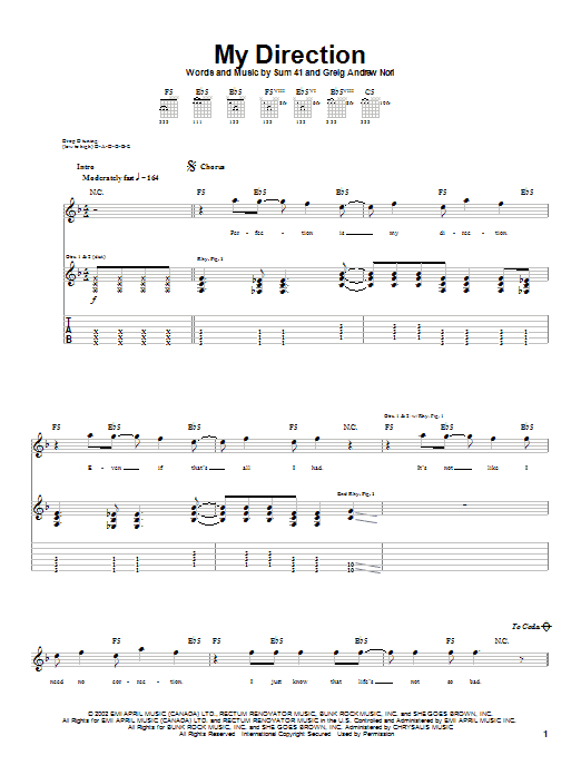 Sum 41 My Direction sheet music notes and chords