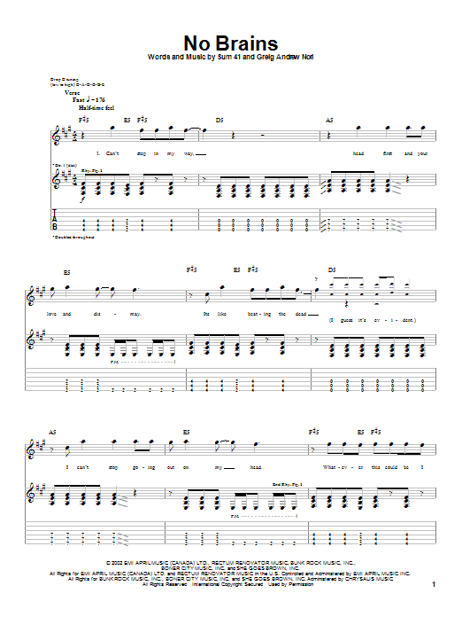 Sum 41 No Brains sheet music notes and chords