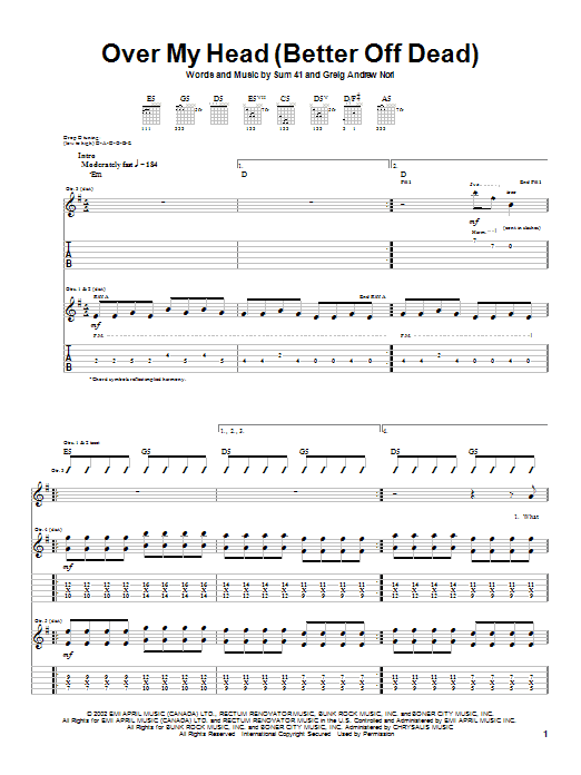 Sum 41 Over My Head (Better Off Dead) sheet music notes and chords