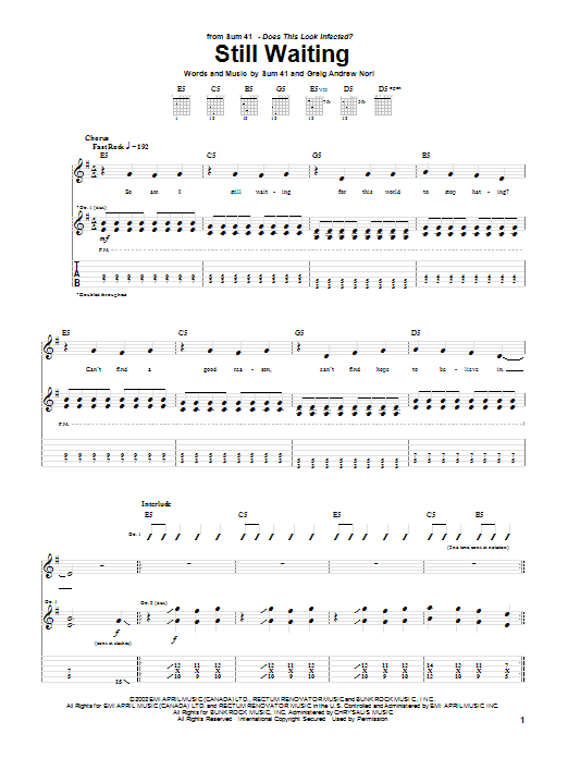 Sum 41 Still Waiting sheet music notes and chords