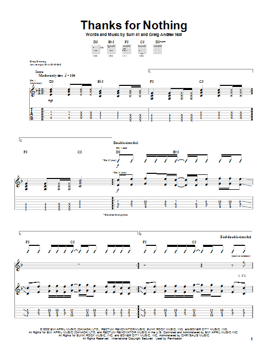 Sum 41 Thanks For Nothing sheet music notes and chords