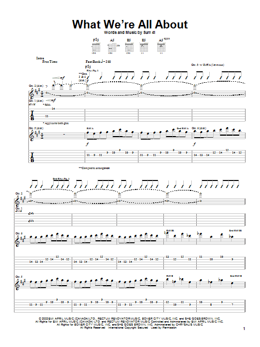 Sum 41 What We're All About sheet music notes and chords. Download Printable PDF.