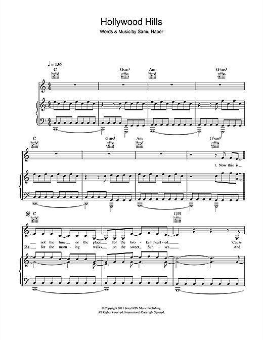 Sunrise Avenue Hollywood Hills sheet music notes and chords. Download Printable PDF.