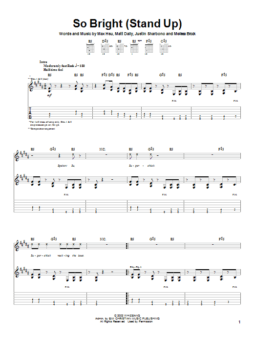 Superchick So Bright (Stand Up) sheet music notes and chords. Download Printable PDF.