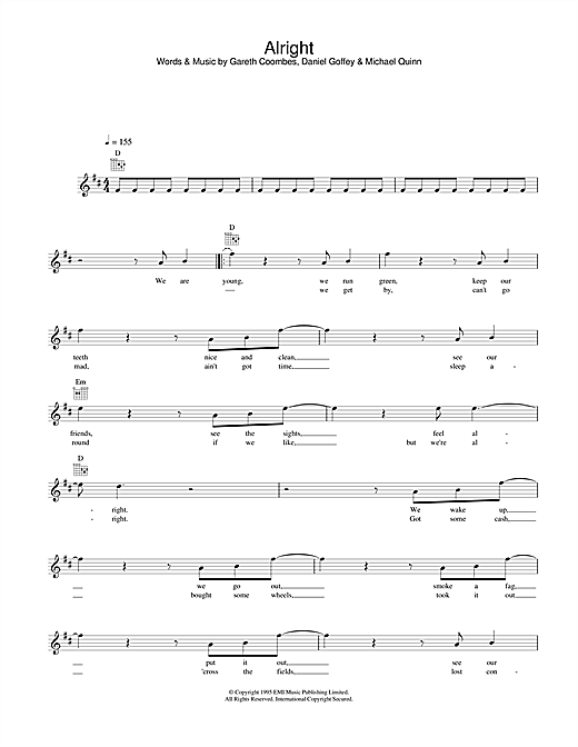 Supergrass Alright sheet music notes and chords