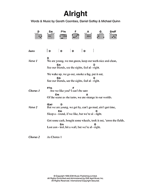 Supergrass Alright sheet music notes and chords. Download Printable PDF.