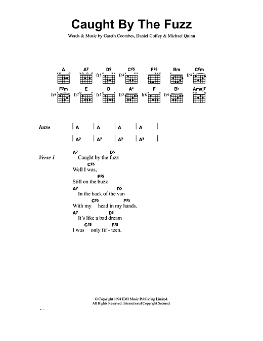 Supergrass Caught By The Fuzz sheet music notes and chords. Download Printable PDF.
