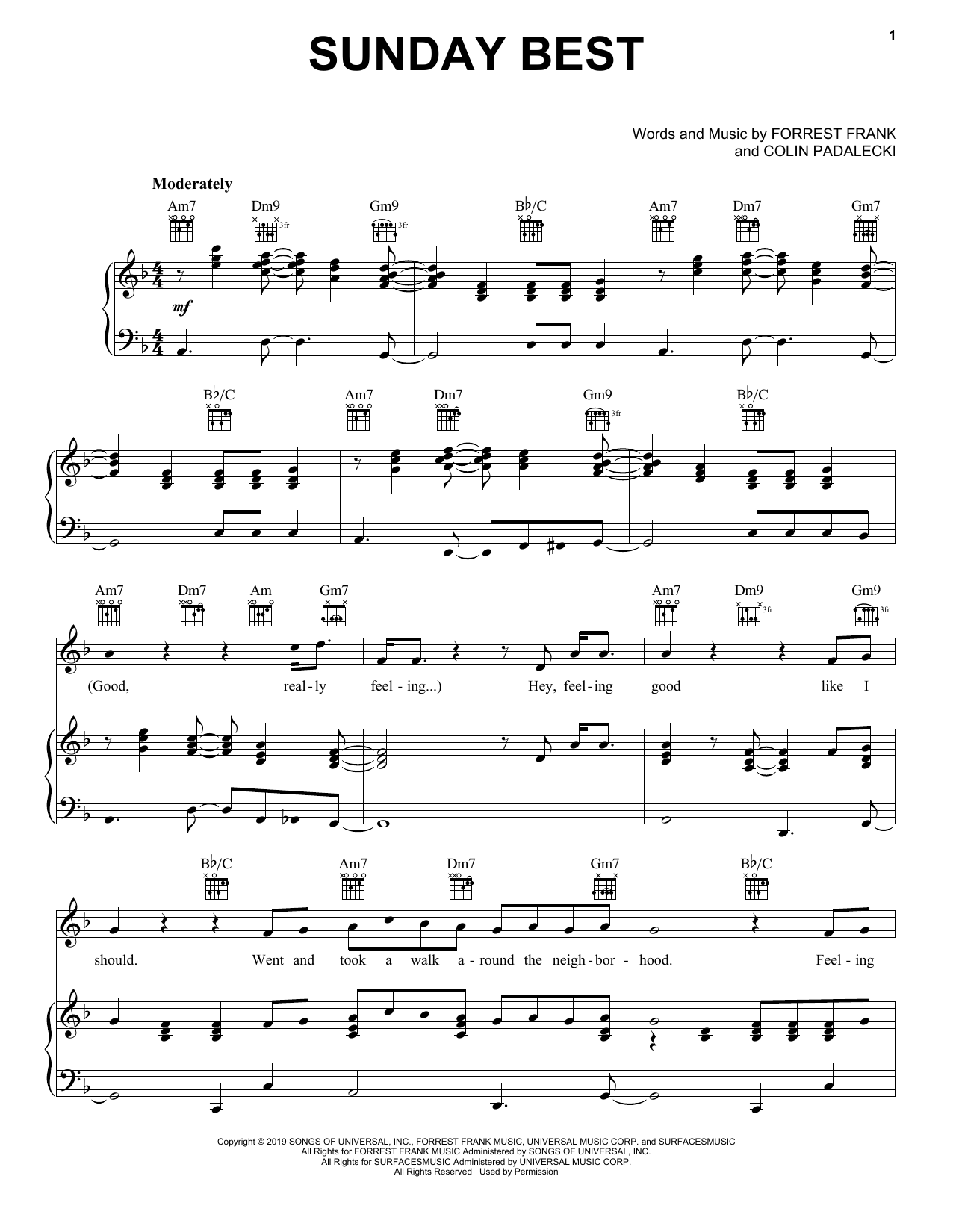 Surfaces Sunday Best sheet music notes and chords. Download Printable PDF.