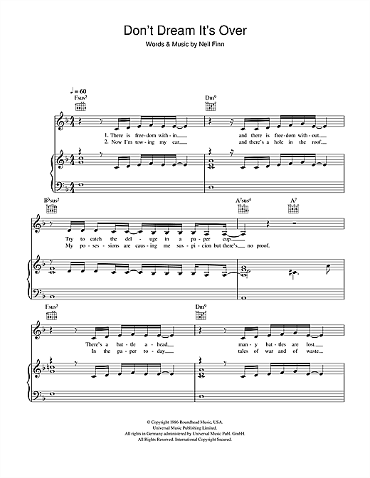 Susan Boyle Don't Dream It's Over sheet music notes and chords. Download Printable PDF.