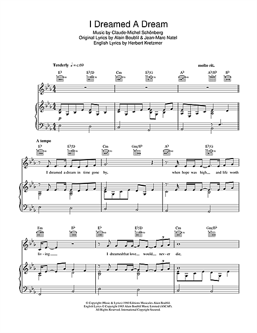 Susan Boyle I Dreamed A Dream sheet music notes and chords