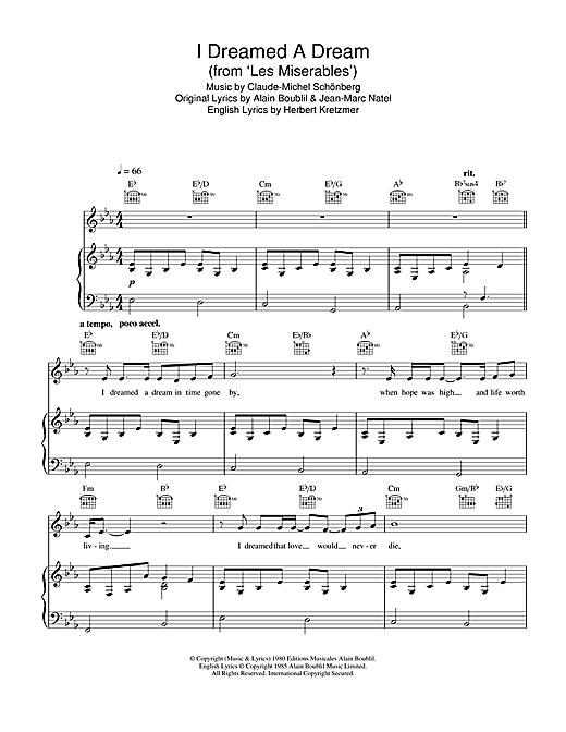 I Dreamed A Dream Les Miserables Mis Sing VOICE CHOIR VOCALS SSA Sheet Music